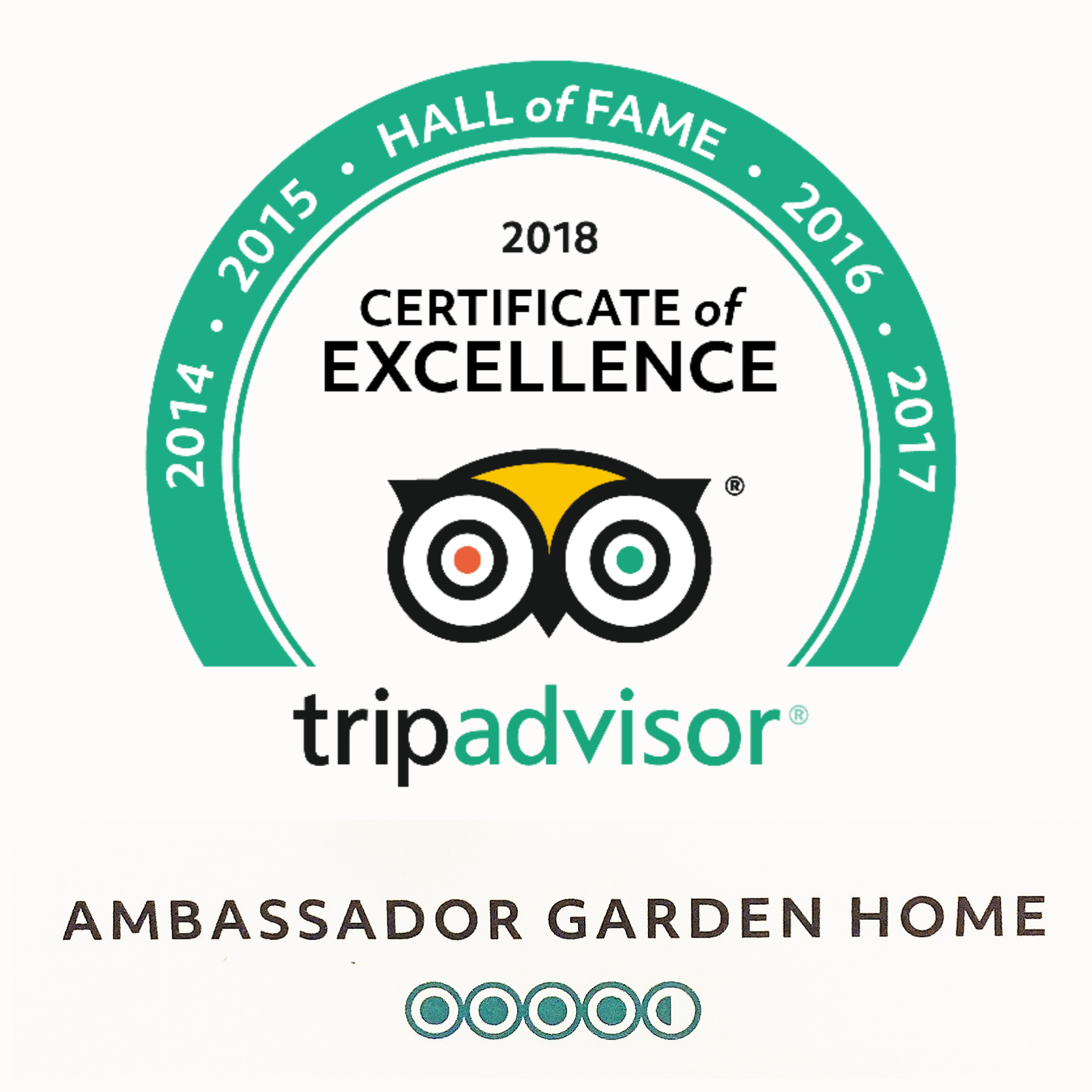 Ambassador Garden Home has been Awarded byTripadvisor in Nepal for 2010 to 2018 the symbol of excellence in hospitality for 8 consecutive years.